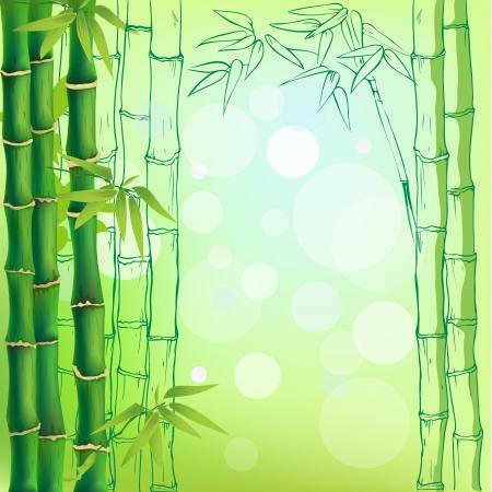 テキスト内のスペースと竹の背景  イラスト・ベクター素材