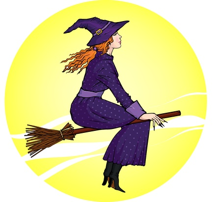 Vector illustration of a young witch, flying on a broomstick on the background of the moon Vector