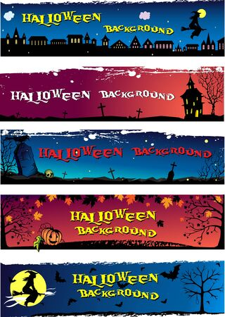 Set of different Halloween backgrounds with space for your text Ilustração