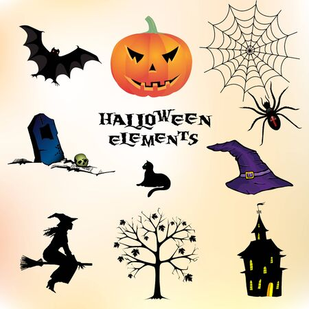 Set of different Halloween elements Vector