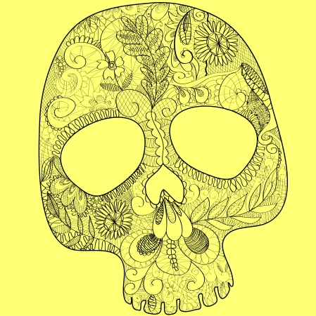skull, woven out of white lace on black background Vector
