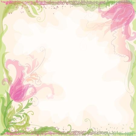 Achtergrond in pastel kleuren met decoratieve tulpen Stock Illustratie