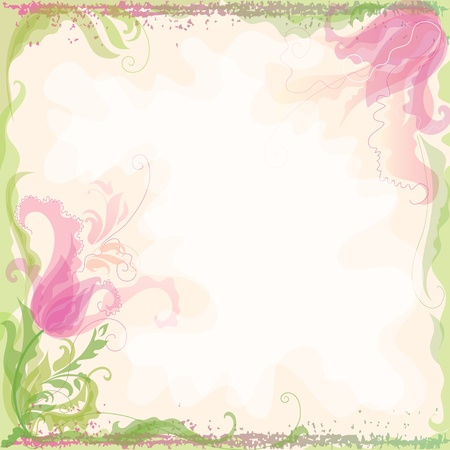 flower border pink: Background in pastel coloring with decorative tulips  Illustration