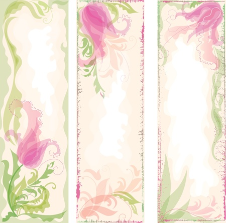 Set of pastel coloring backgrounds with decorative tulips