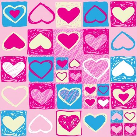 ピンクの心とバレンタイン シームレス パターンをベクトルします。