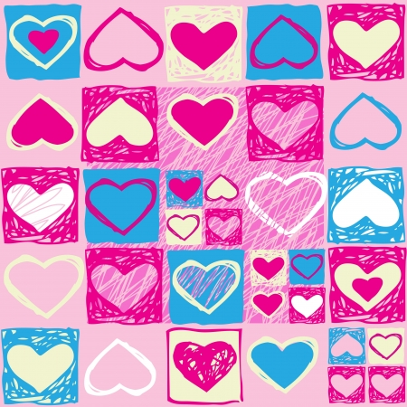 Vector pink Valentine seamless pattern with hearts Vector