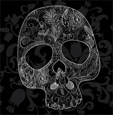 頭蓋骨、黒い背景に白いレースから不織布