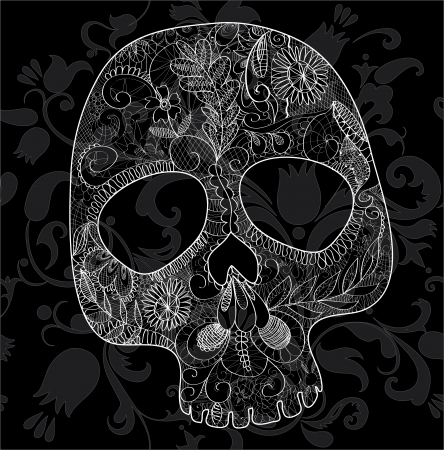 skull, woven out of white lace on black background
