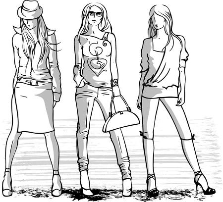 黒と白のベクトルの 3 つのファッションの女の子のイラストをスケッチします。