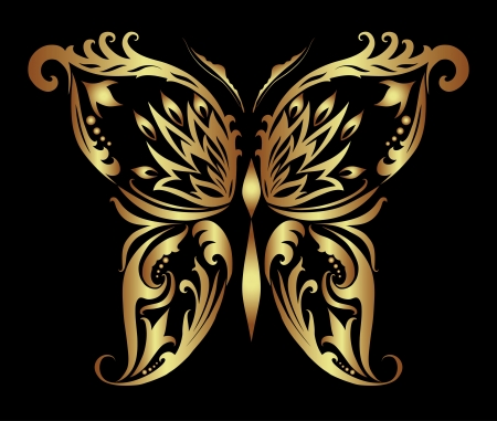 Decorative vector illustration of golden butterfly Stock Vector - 14327950