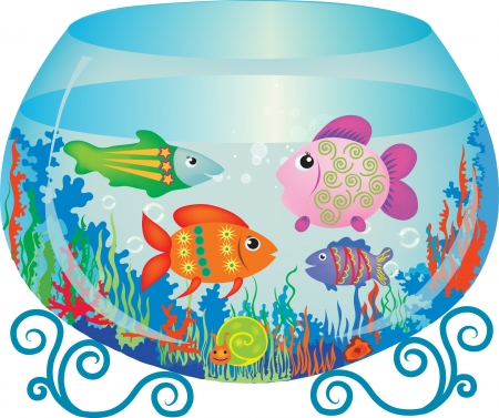 synopsis: Vector illustration of aquarium with bright fishes Illustration