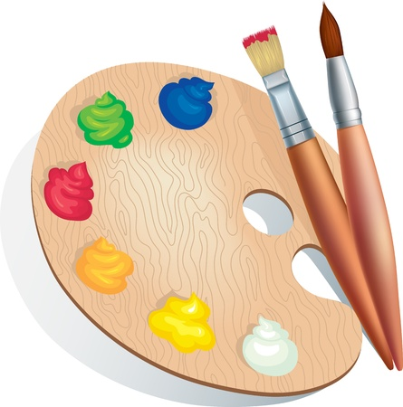 Vector illustration of brushes and a palette of paints Vector