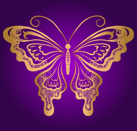 Golden butterfly on violet Vector