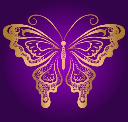 Golden butterfly on violet Illustration