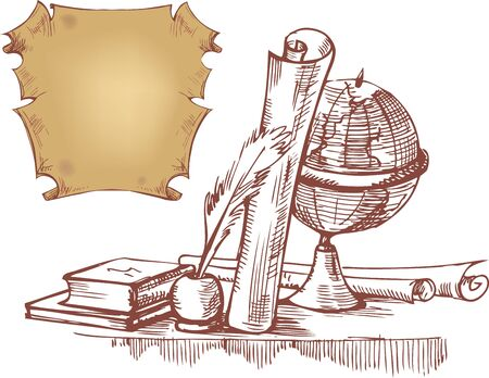 folio: Hand drawn still life with globe, books and old maps