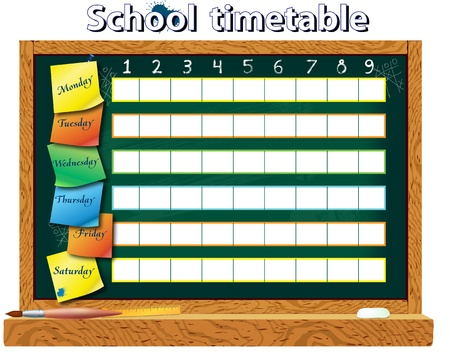 school schedule: Horizontal schedule for the student in the form of board training