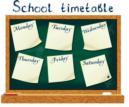 jornada de trabajo: Calendario para el estudiante en forma de formación a bordo y pegatinas con el espacio para las notas