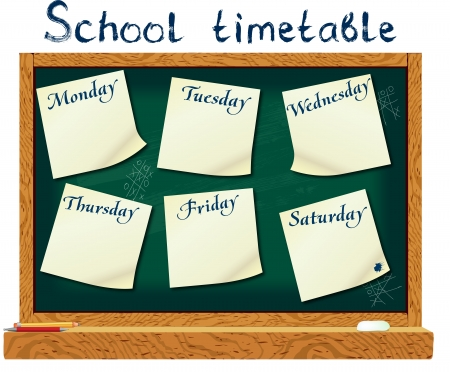 school schedule: Schedule for the student in the form of board training and stickers with space for notes      Illustration
