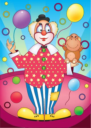 Bright illustration of clown with a monkey Vector