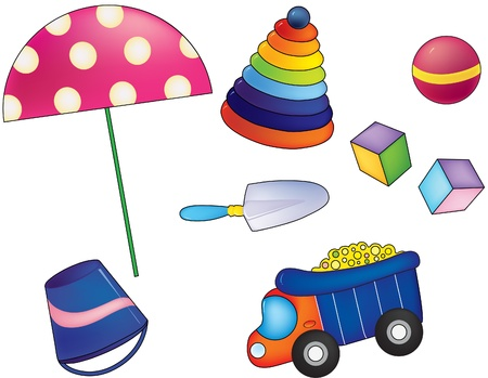 illustration of a set of toys to the sandbox  Vector