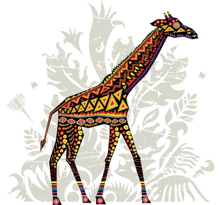 illustration of a giraffe with african patterns  イラスト・ベクター素材