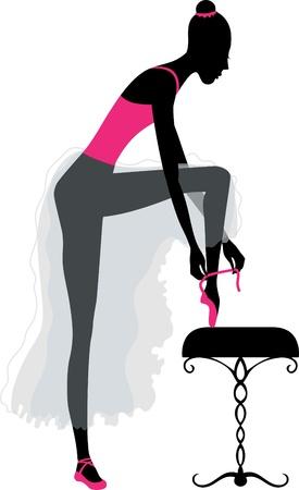 ballerina danza classica: Illustrazione di ballerina, vestendo scarpe da punta prima dello spettacolo