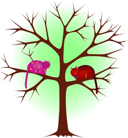 cat grooming: Two cats on a tree