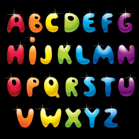 Glossy rainbow alphabet on black background Vector
