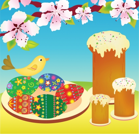 paskha: illustration of easter cakes and eggs Illustration