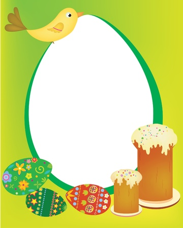 greeting card with easter cakes and eggs Vector