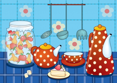 ladle: illustration of morning stillife with cup and teapot Illustration