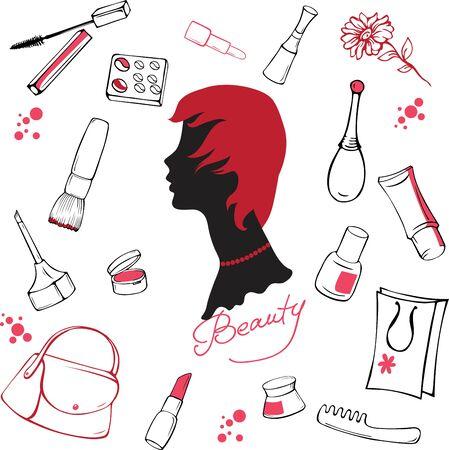 lipstick brush: Set of various cosmetic items on white background Illustration