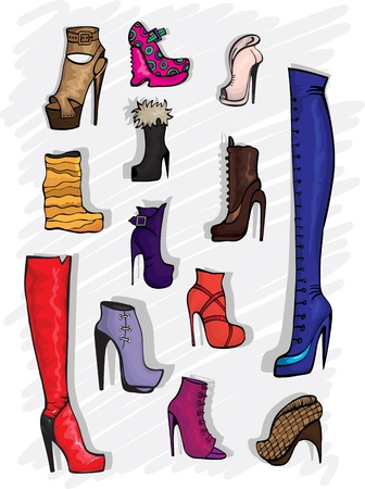 2 objects: Decorative fashion shoes Illustration
