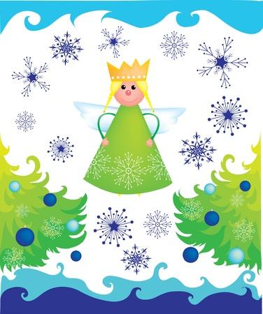 iceflower: Angelo di Natale con alberi e fiocchi di neve su sfondo bianco Vettoriali