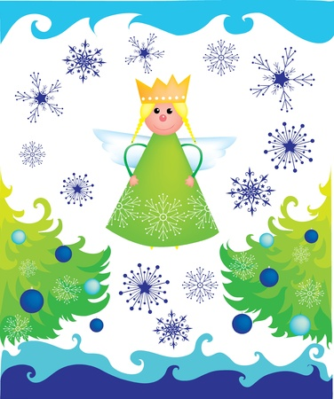 iceflower: Christmas angel with trees and snowflakes on white background