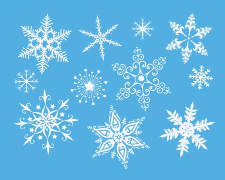 snow crystals: Decorative snowflakes on blue