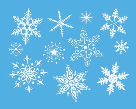 iceflower: Fiocchi di neve decorativi sul blu Vettoriali