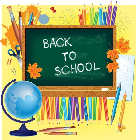 Back to school background with blackboard and suplies Vector