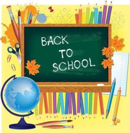 classroom supplies: Volver al fondo de la escuela con pizarra y suplies