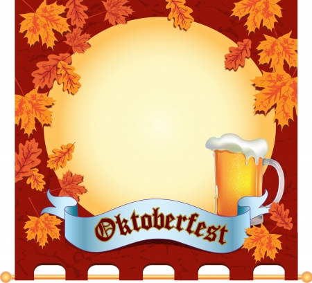 overflowing: Banner celebration Oktoberfest with light beer mug and autumn leaves and space for your text inside