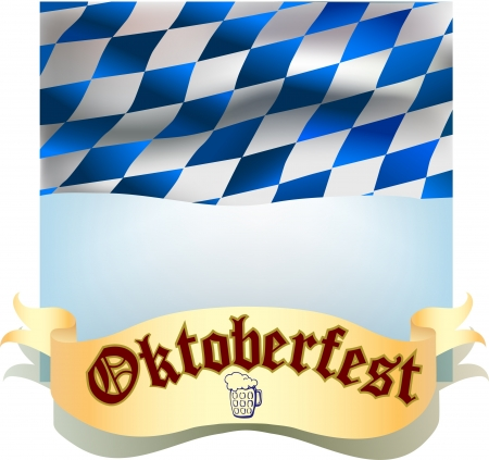Oktoberfest banner with bavarian flag and ribbon with beer icon