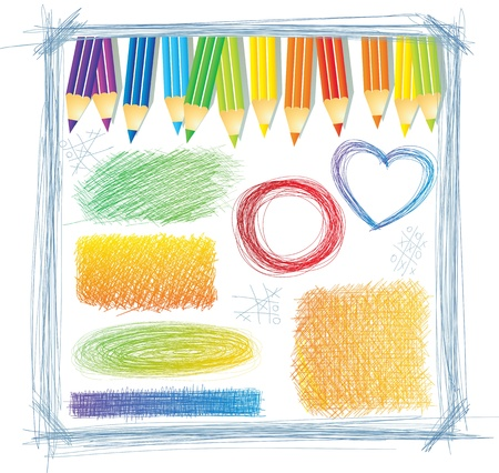 colored pencils: Colored pencils with scratch drawings