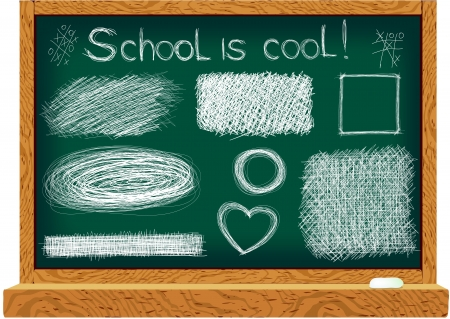 line drawings: Blackboard with line drawings  Hand drawn elements for your design