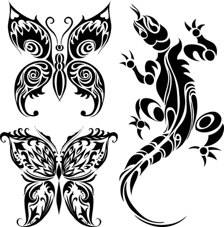 iguanas: Vector illustration of tattoo drawings of butterflies and lizard