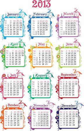 Ilustraci�n vectorial de calendario colorido 2013 semana comienza con el domingo