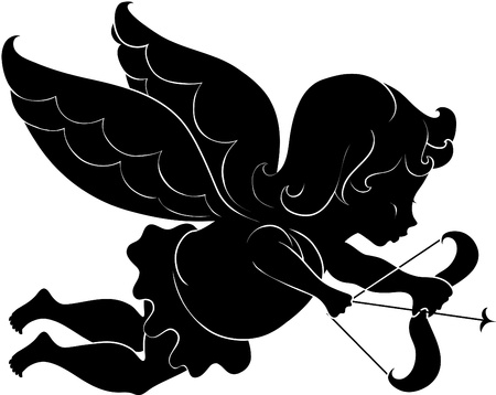 Illustration silhouette of cupid with bow and arrow Vector