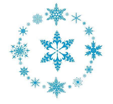 neige qui tombe: Arrondis des flocons de neige vecteur décoratifs sur fond blanc