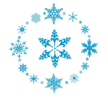 iceflower: Rounded decorative vector snowflakes on white background Illustration