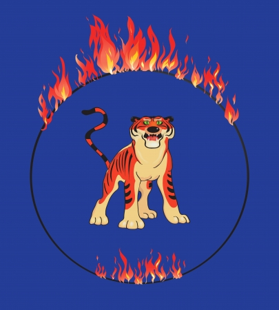 circus performer: Tiger with flaming ring on the blue background