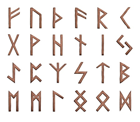 Illustration of wooden runes illustration